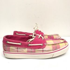 Sperry Top Sider Pink Plaid loafers deck shoes